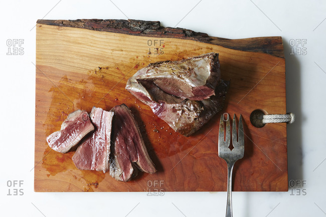 Cooked beef heart sliced