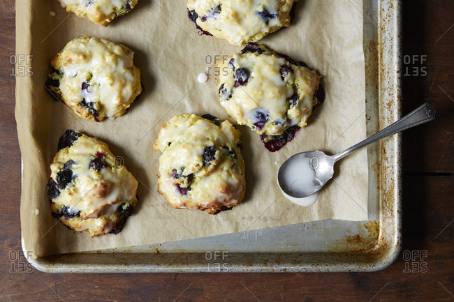Blueberry biscuits with icing