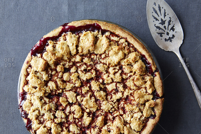 Whole blackberry pie, hazelnut crust