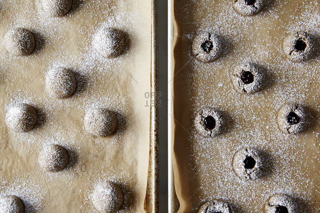 Buckwheat thumbprint cookies with and without filling