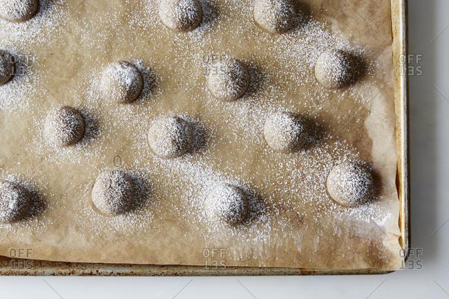 Buckwheat thumbprint cookies on pan