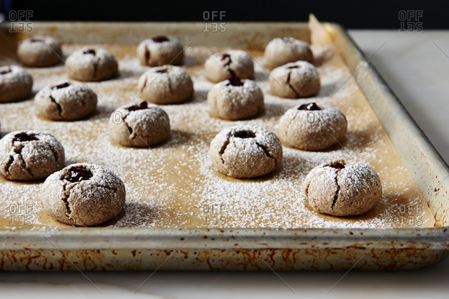 Buckwheat thumbprint cookies with preserve filling