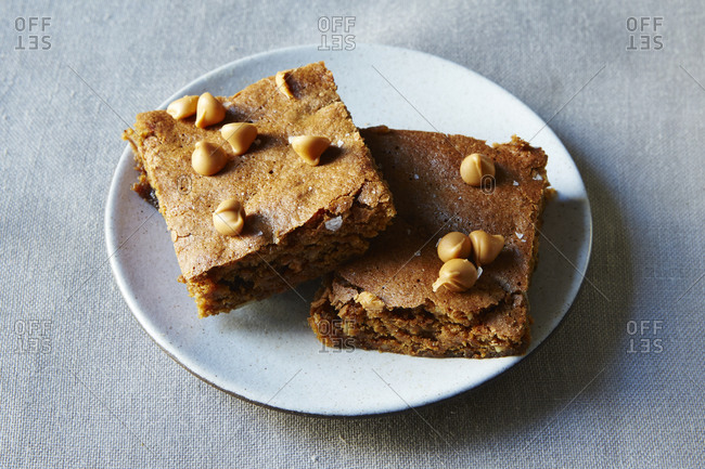 Two miso butterscotch bars on plate