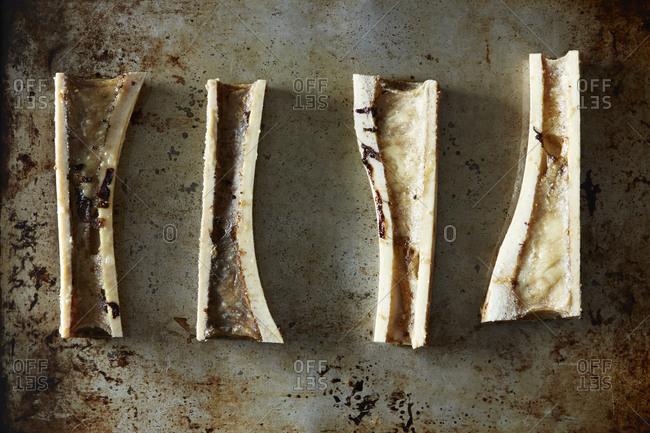 Pan roasted beef marrow bones