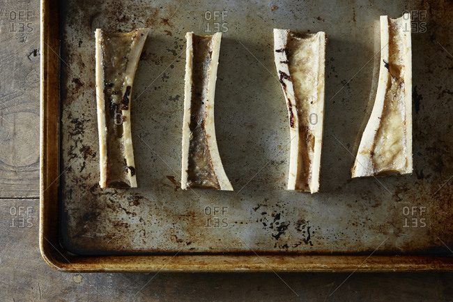 Roasted beef marrow bones