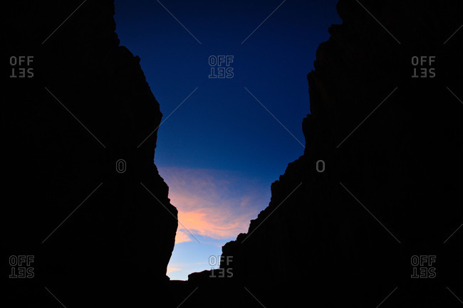 Sunrise as viewed from the depths of Santa Elena Canyon, Big Bend National Park, Texas