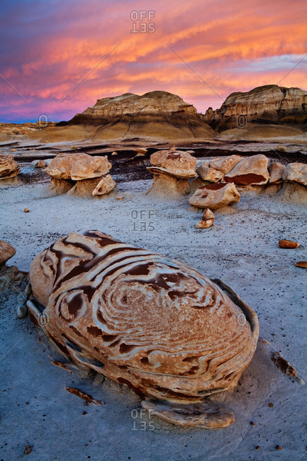 The Egg Garden at sunset in Bisti/De-Na-Zin Wilderness, New Mexico