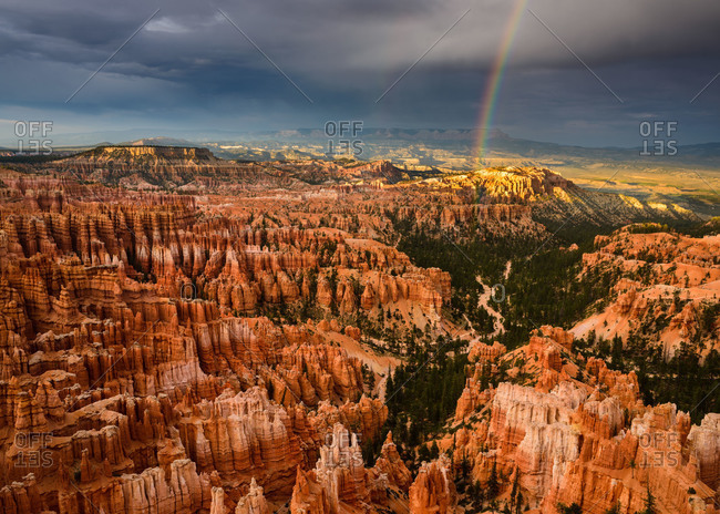 A rainbow over Bryce Canyon National Park in Utah