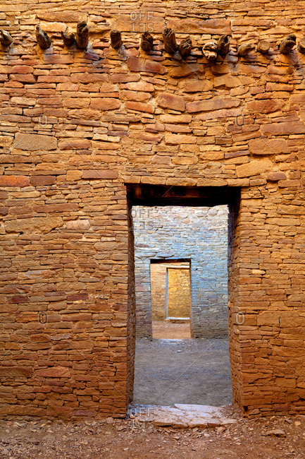 Doorways in Pueblo Bonito, Chaco Culture National Historical Park in New Mexico
