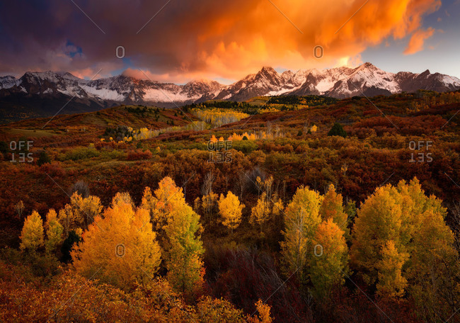 An autumn sunset on the Sneffels Range as seen from Dallas Divide near Telluride in the San Juan Mountains of Colorado