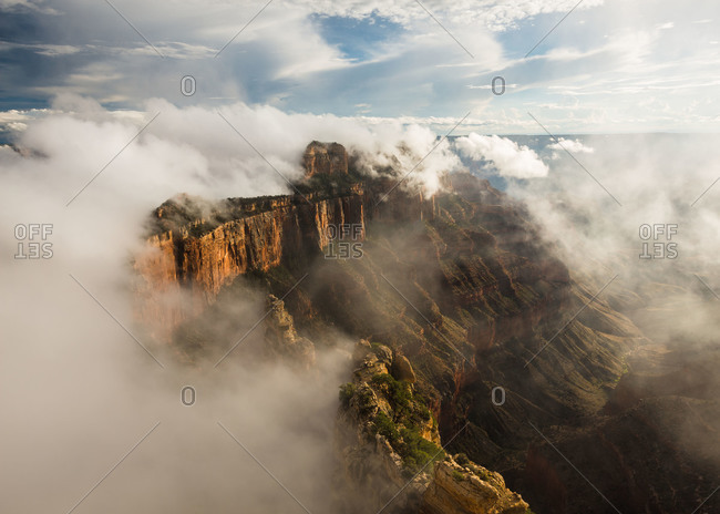 Clouds form on Wotans Throne, viewed from Cape Royal on the North Rim of Grand Canyon National Park in Arizona