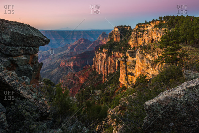 First light on the North Rim of Grand Canyon National Park in Arizona