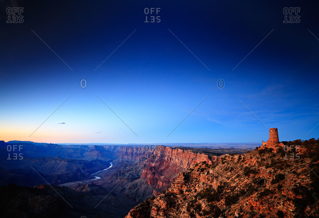 Dusk above the East Rim of Grand Canyon National Park and the Colorado River near the Desert View Watchtower