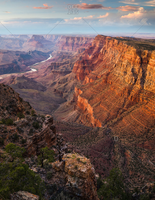 Looking along the Palisades of the Desert and down to the Colorado River in the Grand Canyon National Park