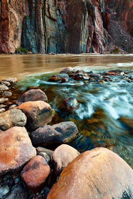 The confluence of Bright Angel Creek and the Colorado River in the Grand Canyon National Park, Arizona, USA