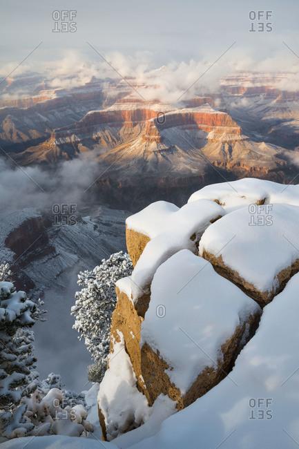 Snowy winter scene at Grand Canyon National Park in Arizona, USA