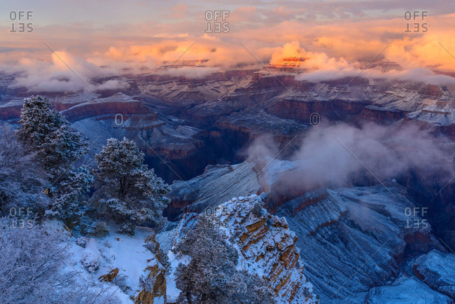 Winter storm at the Isis Temple in the Grand Canyon National Park, USA