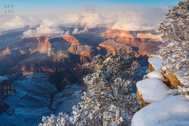Winter scene with snow at Grand Canyon National Park, Arizona, USA