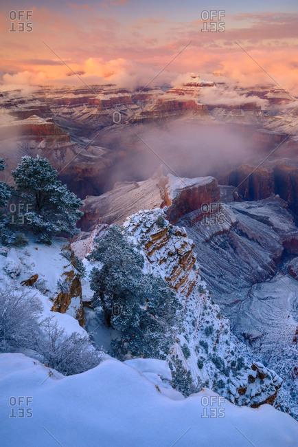 Winter storm at the Grand Canyon, Arizona, USA