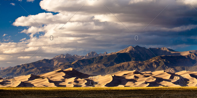 Great Sand Dunes National Park and the Sangre de Cristo Mountains in the San Luis Valley of Colorado, USA