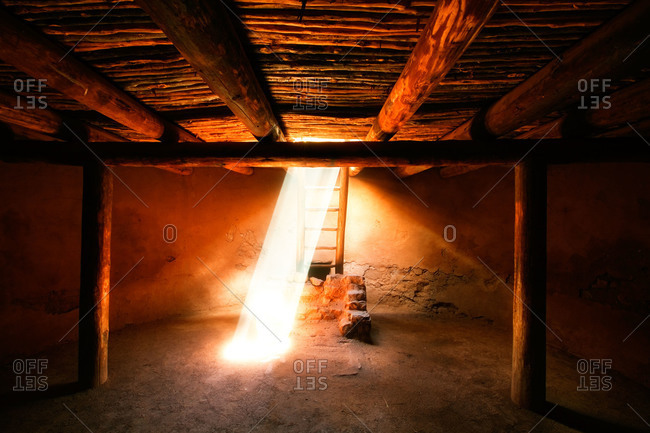 Sunlight penetrating into a kiva at Pecos National Historical Park in New Mexico, USA