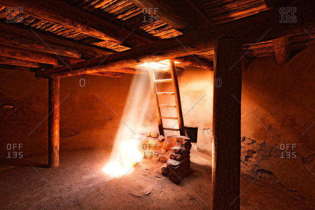 Interior of a kiva at Pecos National Historical Park in New Mexico, USA