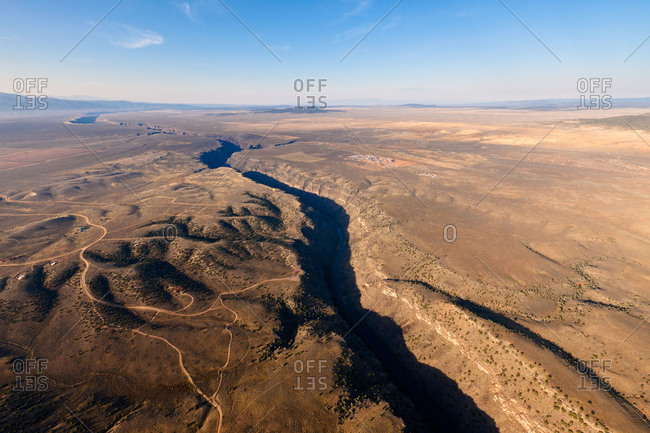 Aerial view of the Rio Grande Gorge in New Mexico, USA