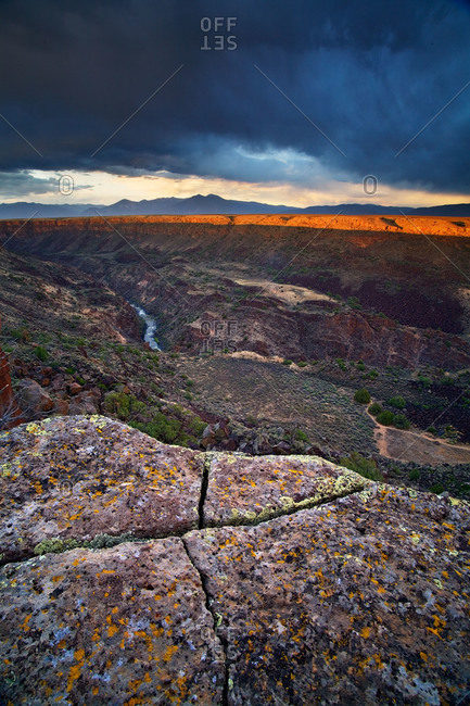 Sunset on the rim of the Rio Grande River Gorge near Taos, New Mexico, USA