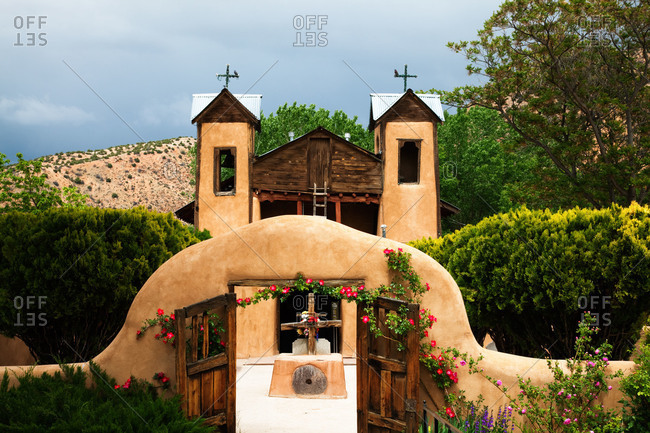 Entrance of the Santuario de Chimayo Church in New Mexico, USA