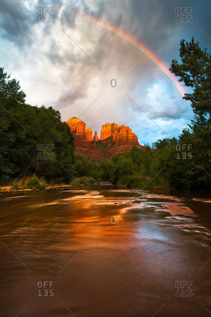 Rainbow over Cathedral Rock at Red Rock Crossing in Sedona, Arizona, USA