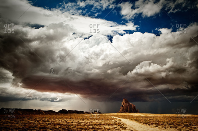 Thunderstorm over Shiprock in New Mexico, USA