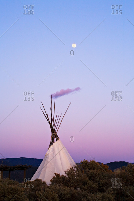 Moonrise over a Tepee near Taos, New Mexico, USA