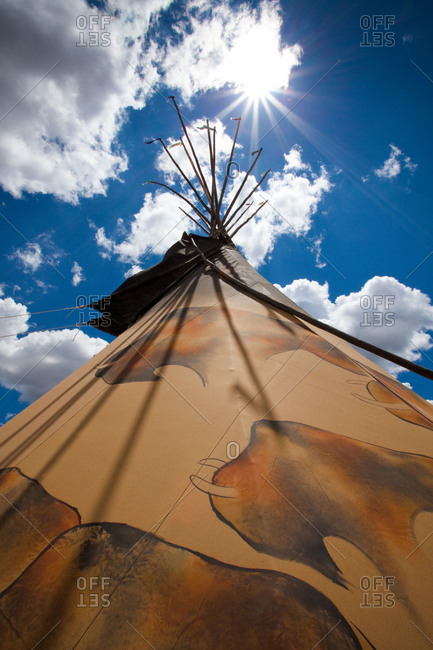 Exterior of a tepee in New Mexico, USA