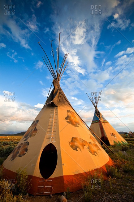 Tepees at sunset near Taos in New Mexico. USA