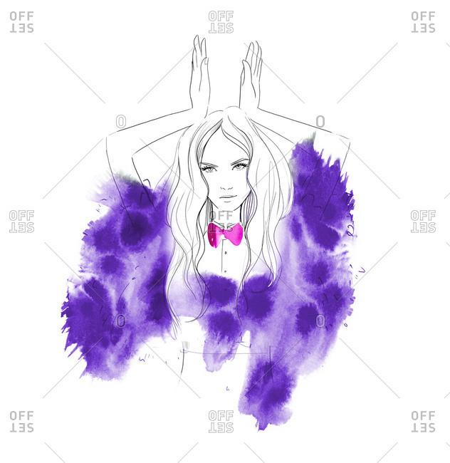 Woman showing bunny ears