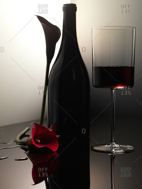 Red and dark purple calla lilies with wine bottle and glass of red wine