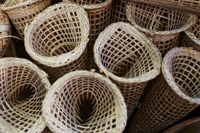 Woven baskets in Thai market