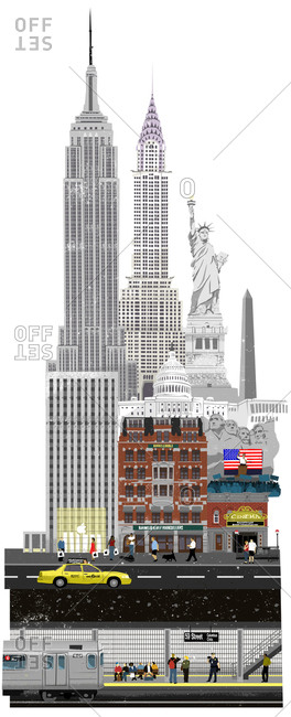 United States of America - November 3, 2010: Collage of American icons