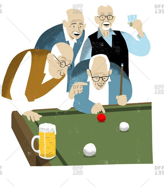 Old men playing pool