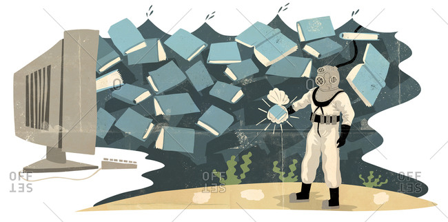 Man in a diving suit discovering books