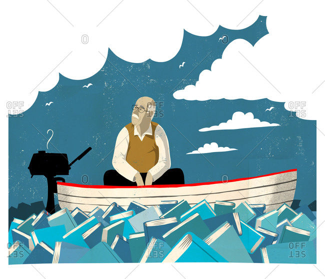 Old man on a boat sailing on books