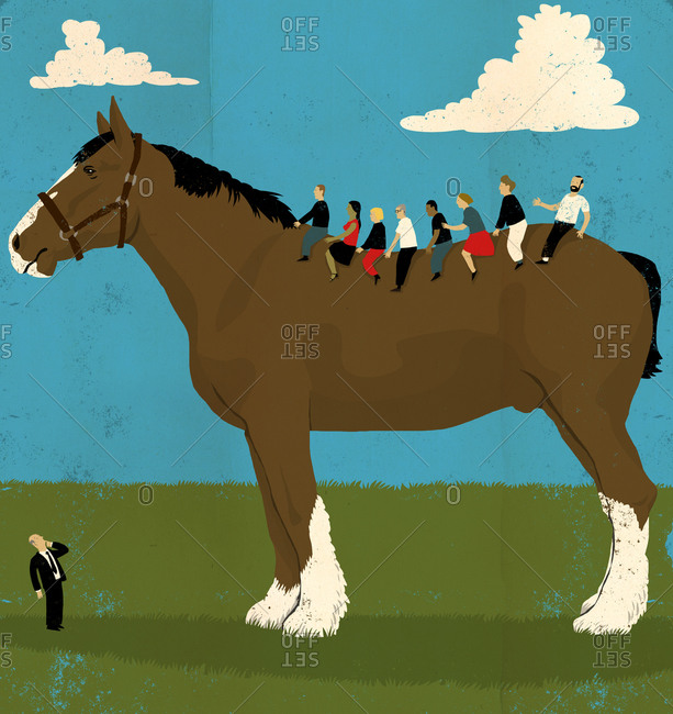 Small people riding a giant horse