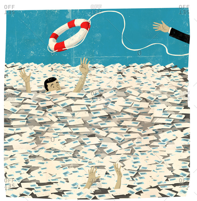 Man sinking in letters