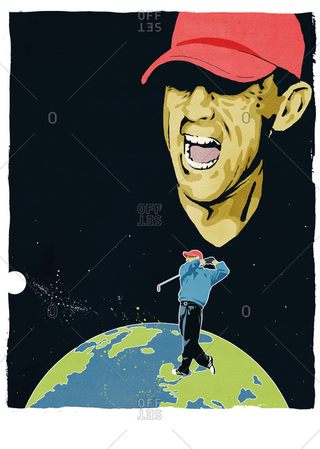 Golfer shooting a ball off of the earth