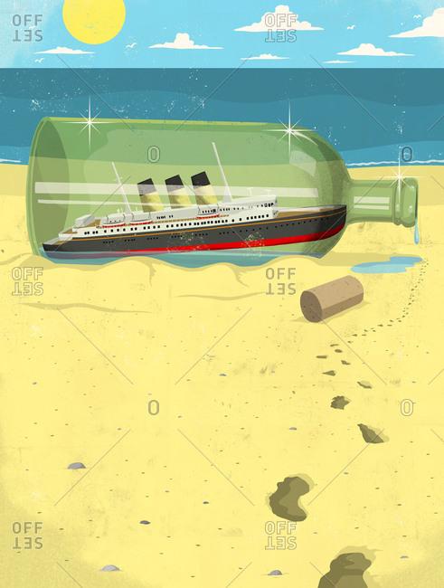 Ocean liner in a bottle