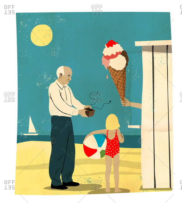 An old man opens his empty wallet in front of a giant ice cream cone