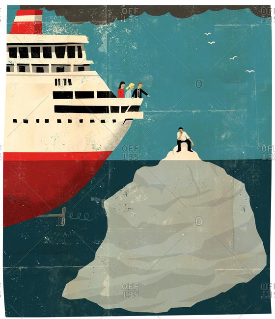 Man left sitting on an iceberg
