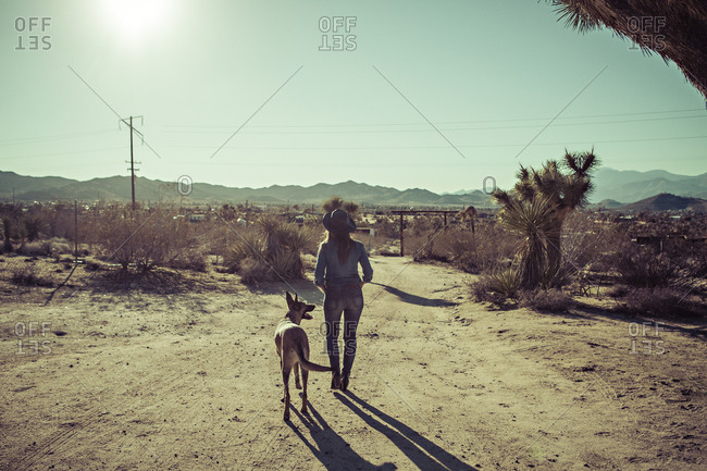 A woman and her dog walk in the desert