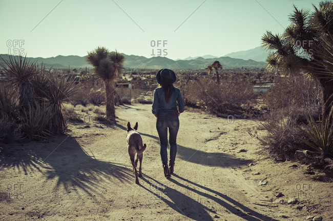 A woman and a dog walk in the desert