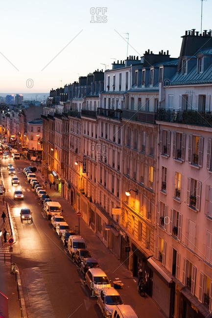 A Parisan street at dusk